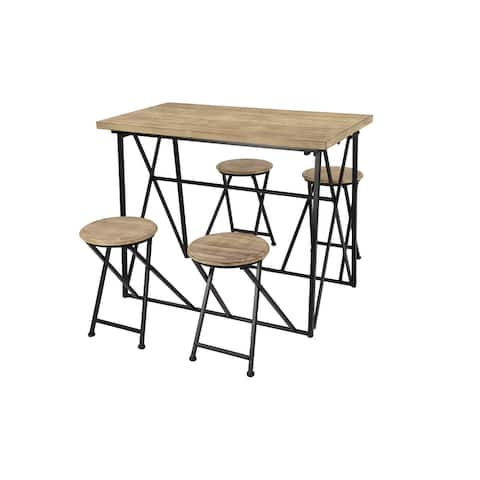Industrial Metal & Wood Dining Table w 4 Retractable Nesting Stools - 44 x 59 x 34