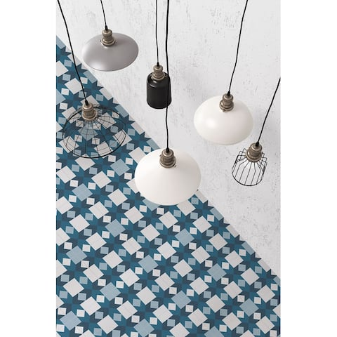 8x8 Graphic Blue Sahara Porcelain Floor and Wall Tile (3.88 Sq. Ft./ 9 pcs per box)