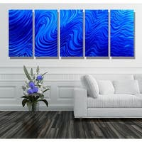 Statements2000 Blue Modern Abstract Metal Wall Art Painting by Jon Allen - Blue Hypnotic Sands