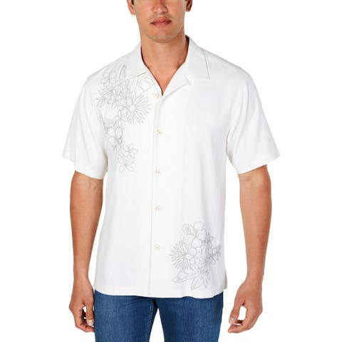 Tommy Bahama Mens Vicenco Vines Casual Shirt Silk Floral Embroidered - Continental
