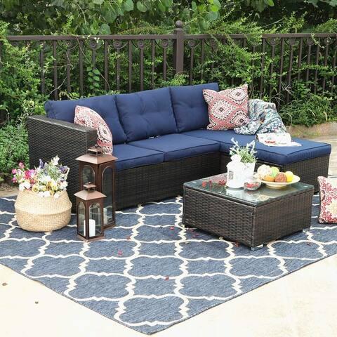 PHI VILLA Rattan 3-Piece Patio Sectional Sofa Set