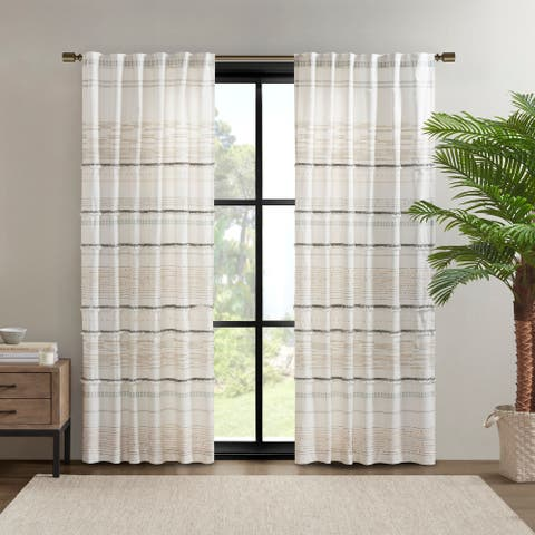 Nea Natural Cotton Printed Window Panel with tassel trim and Lining by INK+IVY