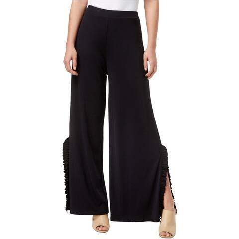 Kensie Womens Ruffled Trim Split Gaucho Dress Pants, black, Small
