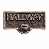 Switch Plate Tags HALLWAY Name Signs Labels Antique Brass | Renovator's Supply