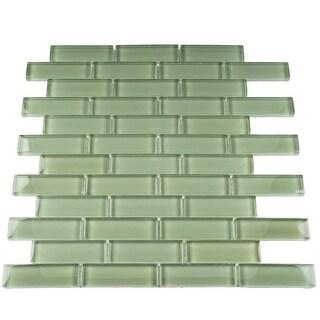 "TileGen. 1"" x 3"" Glass Mosaic Tile in Green Wall Tile (10 sheets/9.5sqft.)"