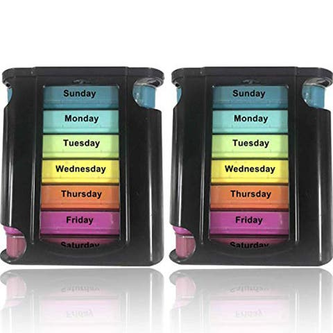 Stackable Daily Pill Organizer - 2 Pk, 4 Times a Day Weekly Medication - Multi