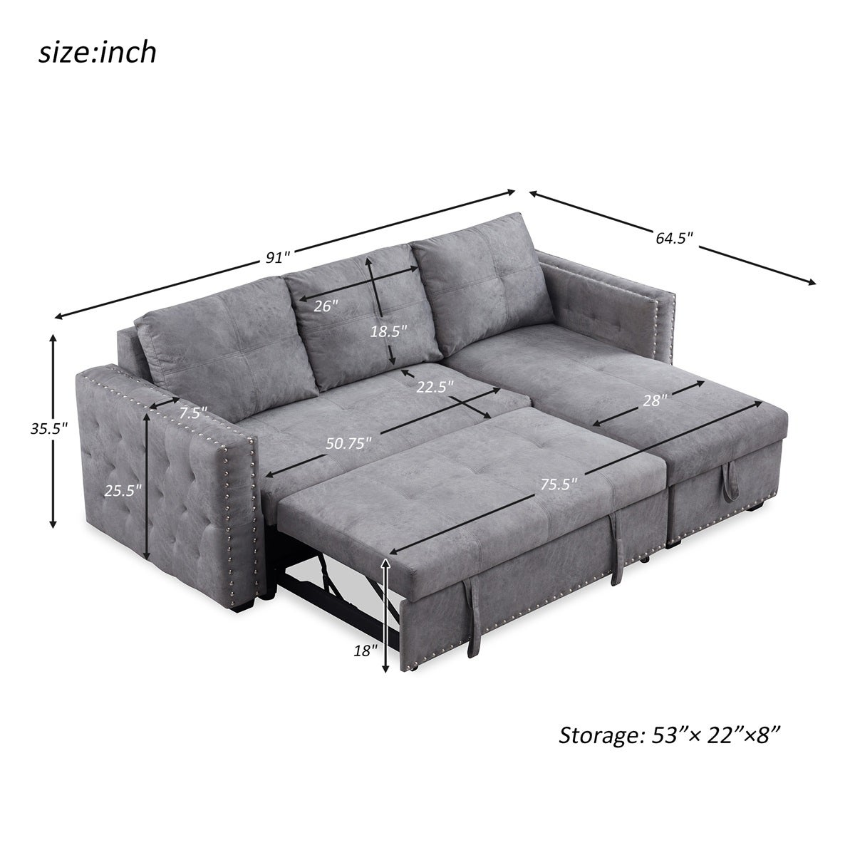 Merax 91 Inch Reversible Sleeper Sectional Sofa With Storage Chaise And Pull Out Bed Nailhead Overstock 31813473