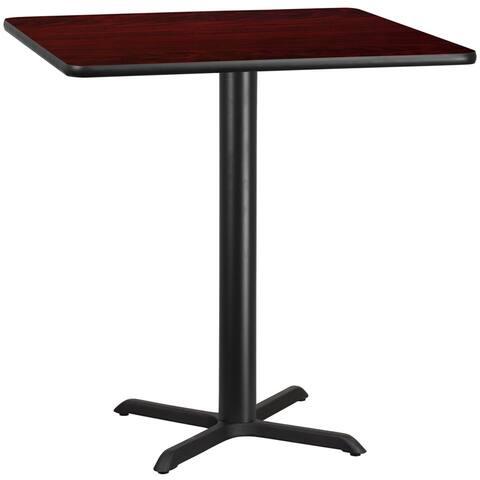 "Dyersburg 42'' Square Mahogany Laminate Table Top w/42"" High X-Base"