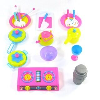 Colourful Simulation Spatula Pot Spoon Chopsticks 17 in 1 Tableware Toys Set