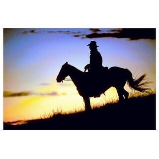 """""""Cowboy at Dusk"""" Poster Print"""