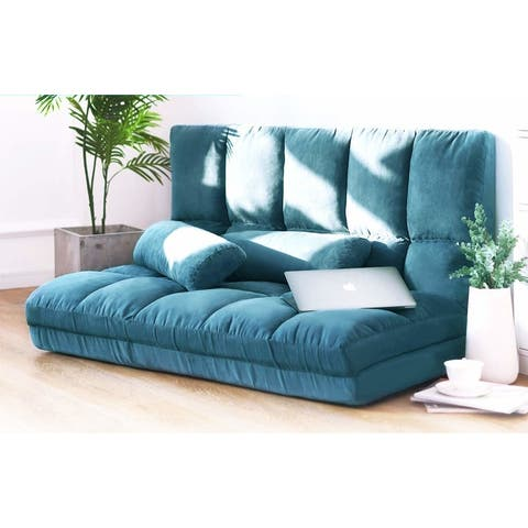 Merax Blue Small 5-position Adjustable/Folding Floor Loveseat with 2 Pillows