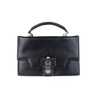 Roberto Cavalli Women's Black Leather Mini Queen Satchel Handbag - S