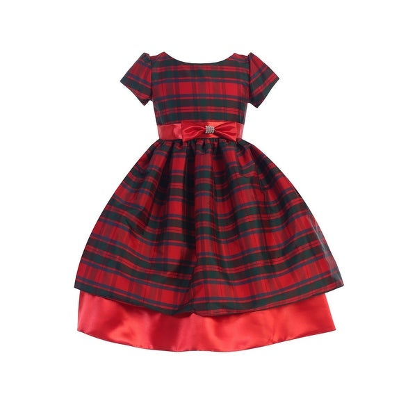 48db3cea7 Shop Ellie Kids Little Girls Red Taffeta Plaid Bow Accented Christmas Dress  4-6 - Free Shipping On Orders Over $45 - Overstock.com - 23084597