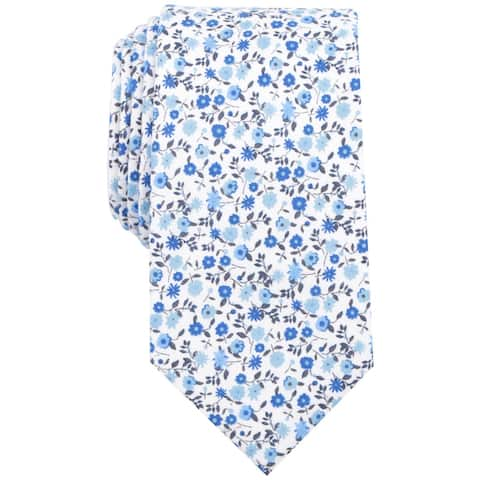 bar III Mens Floral Skinny Self-tied Necktie, blue, One Size - One Size