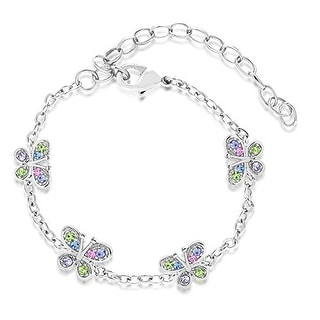 New Silver White Gold Tone Multi Colored Crystals Butterfly Children's Bracelet
