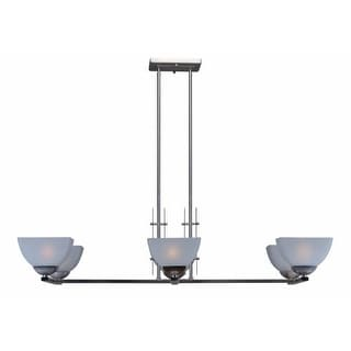 "Forte Lighting 2700-06 6 Light 43"" Wide Linear Chandelier with White Linen Glass Shades"