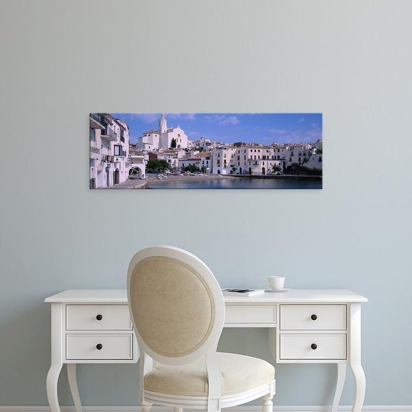 Easy Art Prints Panoramic Images's 'Buildings On The Waterfront, Cadaques, Costa Brava, Spain' Premium Canvas Art