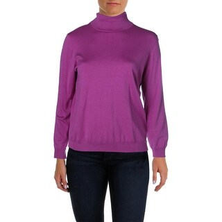 Lauren Ralph Lauren Womens Plus Silk Knit Turtleneck Sweater - 1X