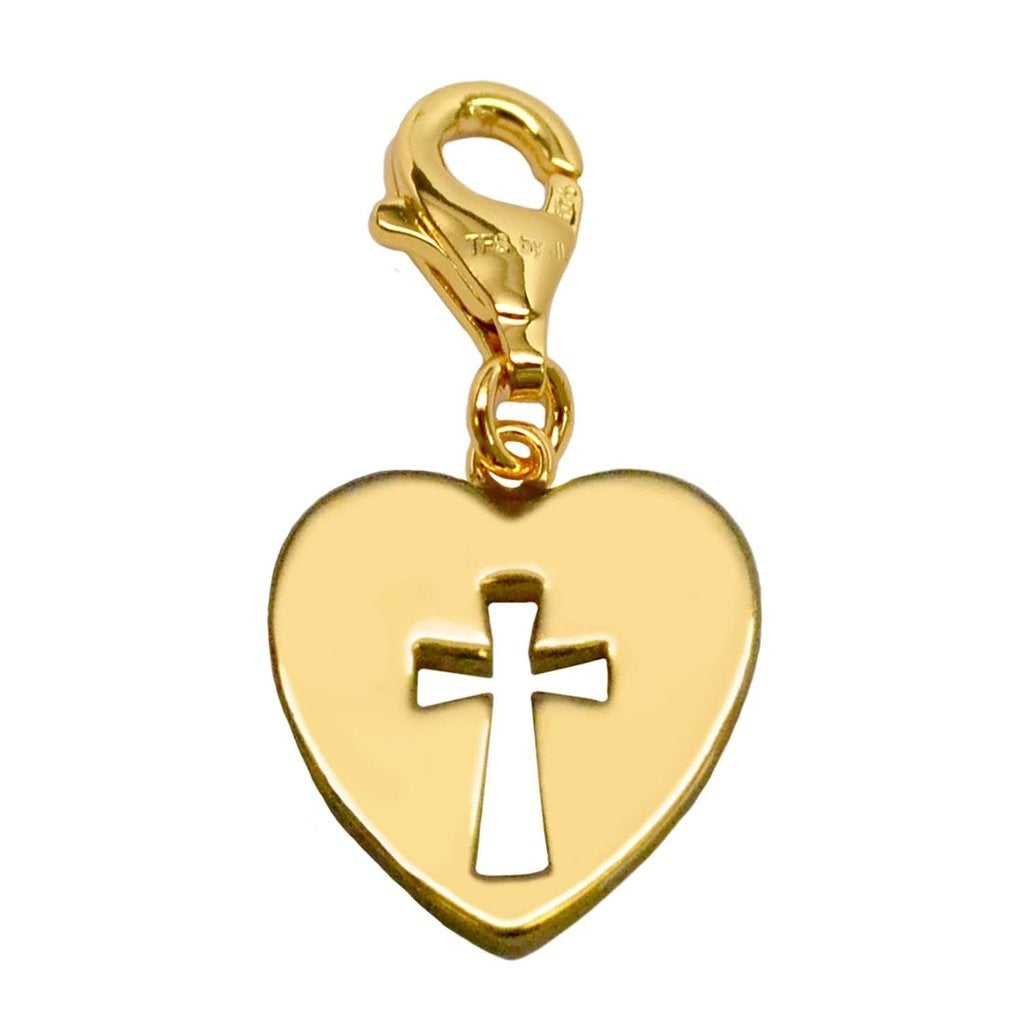 Julieta Jewelry Cross Heart Plate Cutout Clip-On Charm - Thumbnail 0