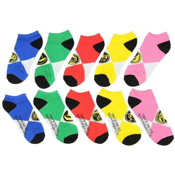 Power Rangers Ankle Socks 5-Pack Yellow, Red, Green, Blue and Pink - White