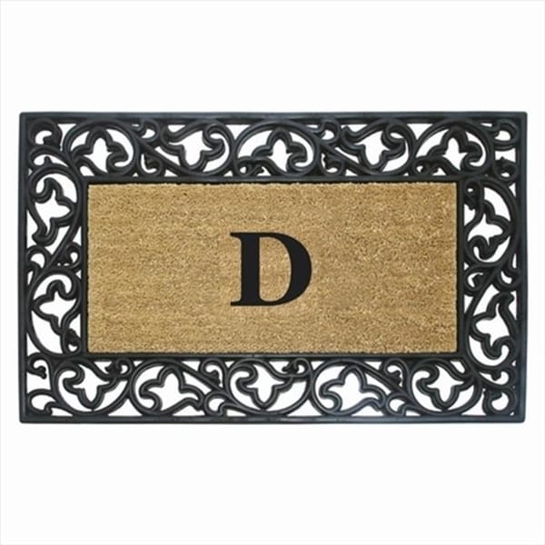Nedia Home 18020E Acanthus Border 24 x 57 In. Rubber-Coir Doormat Monogrammed with E