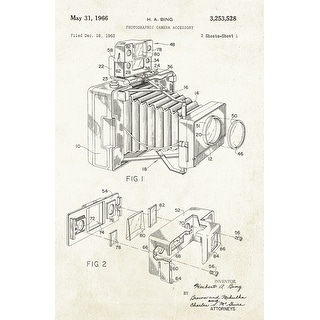 Photographic Camera on Aged Paper - Patents - 24x16 Matte Poster Print Wall Art