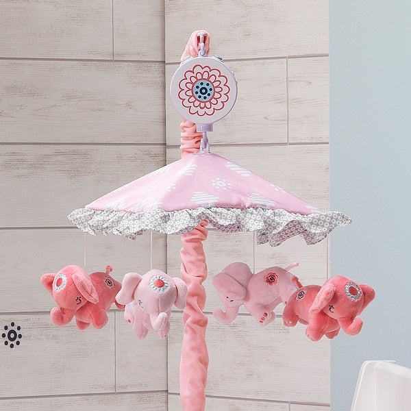 Lambs /& Ivy Boho Elephant Pink//White//Mint Musical Baby Crib Mobile Toy//Soother