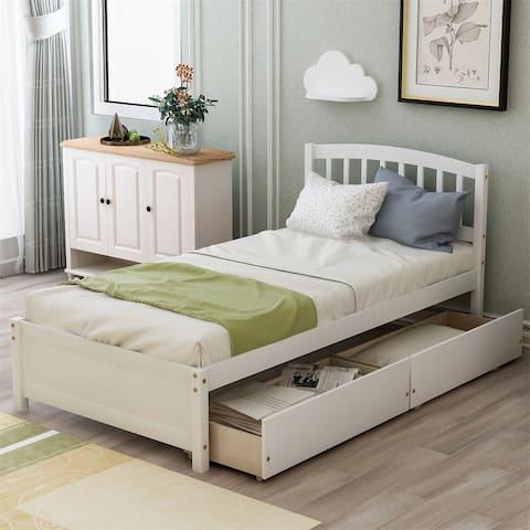 Merax Twin Platform Wood Bed with Reversible Storage Drawers