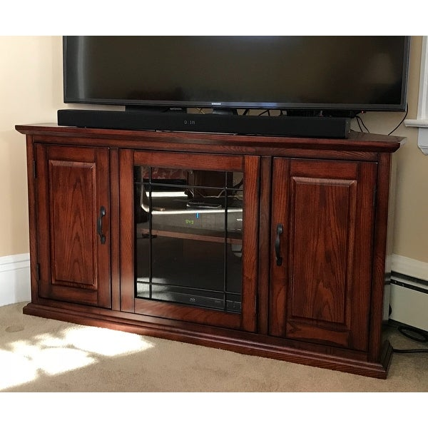 Burnished Oak 50 Inch TV Stand And Media Corner Console   Free Shipping  Today   Overstock.com   14076477