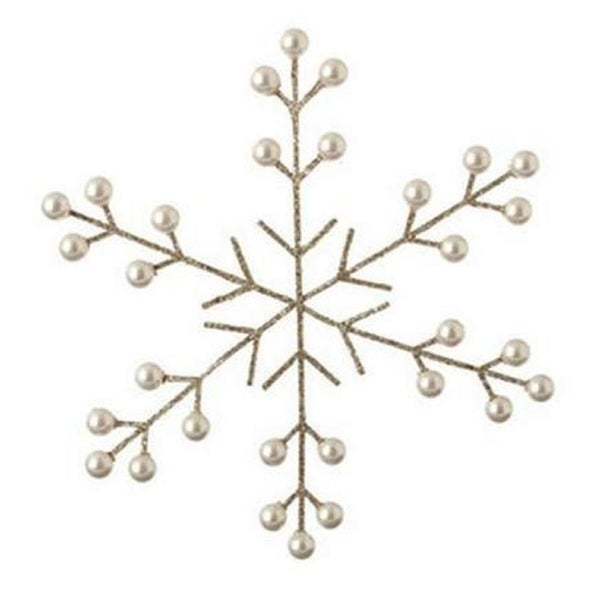 "8.5"" Silver and Pearl Glittered Snowflake Christmas Ornament"