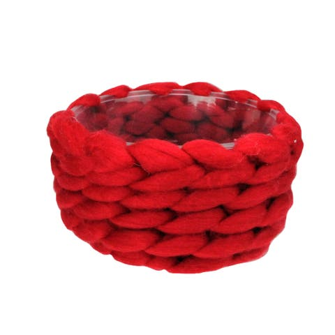 """7.5"""" Holly Berry Red Knitted Wool Christmas Basket - N/A"""