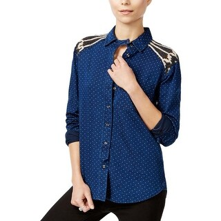 Free People Womens Button-Down Top Knit Back Printed