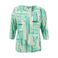 JM Collection Women's Plus Size Textured Brushstroke Top - teal brush play
