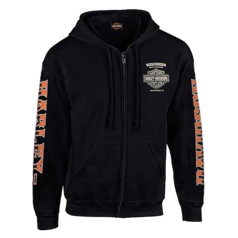 Harley-Davidson Men's H-D Rider Skull Zip-Up Fleece Hoodie - Solid Black