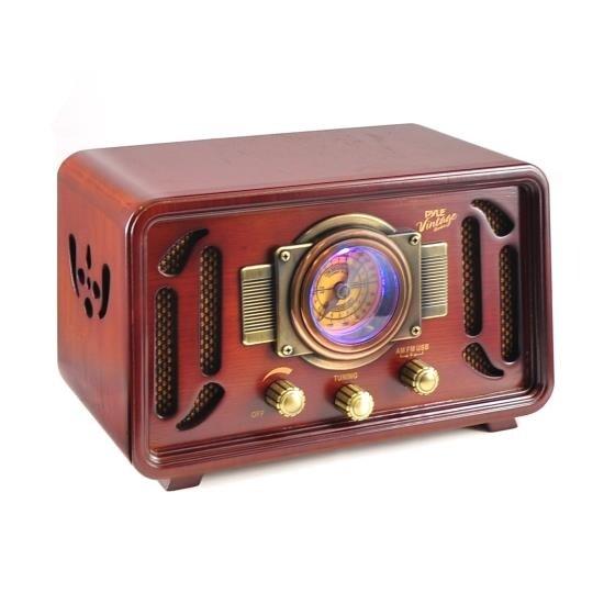 Vintage Retro Classic Style Bluetooth Radio Speaker Sound System, USB/SD Readers, AM/FM Radio