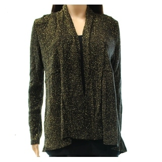 INC NEW Black Women's Size Small S Metallic Open Front Cardigan Sweater
