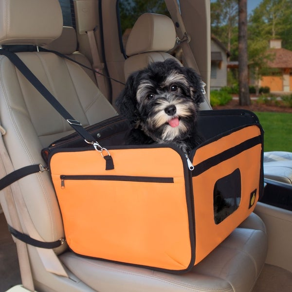 FrontPet Orange Pet Car Booster Seat With Canopy Top And Shoulder Strap