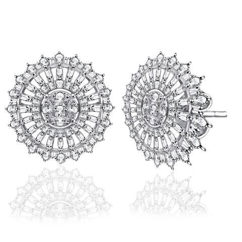 Diamond Baguette Sterling Silver Stud Earrings by Diacrown