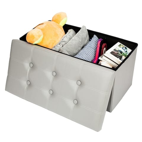 Practical PVC Leather Rectangle Shape with Leather Button Footstool