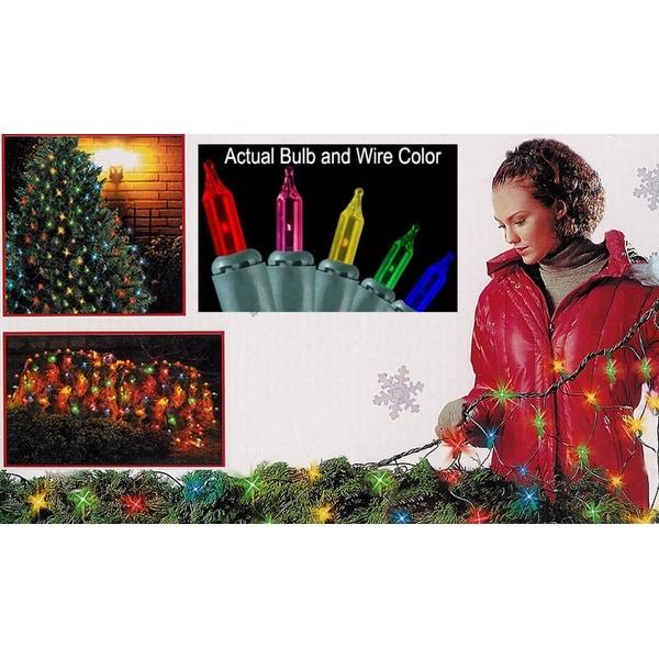 4' x 6' Multi Mini Net Style Christmas Lights - Green Wire