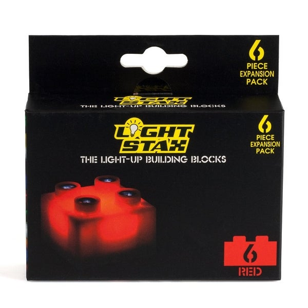 Light Stax LED Light-Up Building Blocks 6-Piece Expansion Pack: Red - Multi