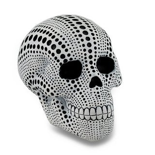 White and Black Dotted Human Skull Statue 4.5 in.