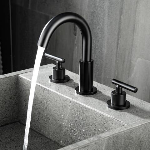 2-Handle High-arc Matte Black Bathroom Sink Faucet - 12*4*8.32