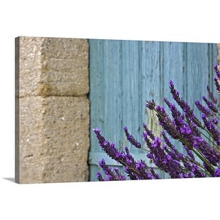 """Lavender flower against door."" Canvas Wall Art"