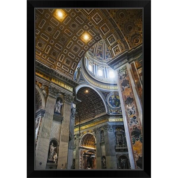 """Saint Peters Basilica in Vatican City"" Black Framed Print"
