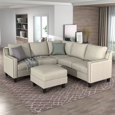 Merax 3-Piece Rivet Modern Upholstered Sofa Set with Cushions