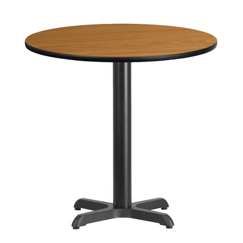 "Dyersburg 30'' Round Natural Laminate Table Top w/30"" High X-Base"