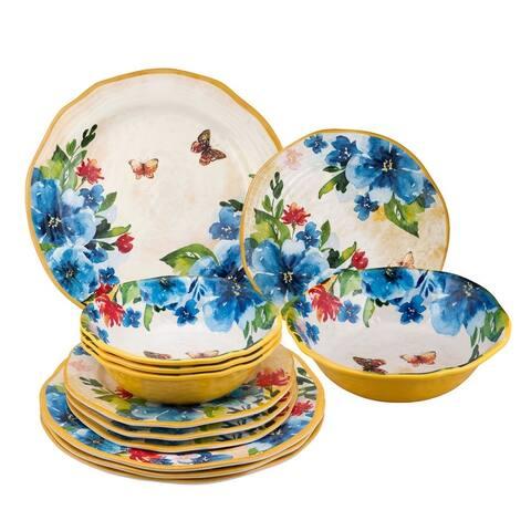UPware 12-Piece Butterfly Melamine Dinnerware Set