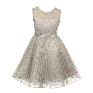 Good Girl Girls Silver Lace Overlaid Brooch Junior Bridesmaid Dress