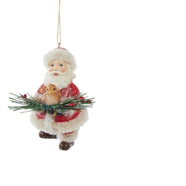 "3.5"" Christmas Long Ago Vintage Santa Claus with Bird Decorative Christmas Ornament"